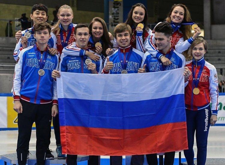 Победа на чемпионате Европы по шорт-треку в эстафете